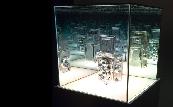 Andrew Wright, <i>Disused Twin Lens Camera (missing crank)</i>, 2014, silvered object, custom plinth.