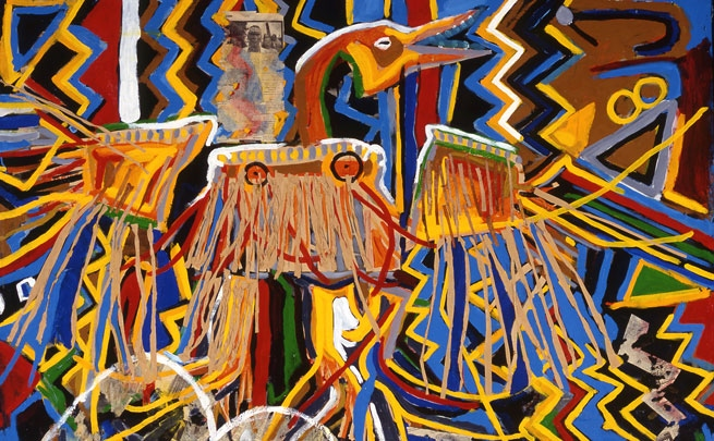 Glenna Matoush, <em>My Great Grandfather, Chief Yellow Head, Who's Buried under McDonald's on Yonge Street in Toronto</em>, 1995, mixed-media, 150.8 x 166.2 cm.