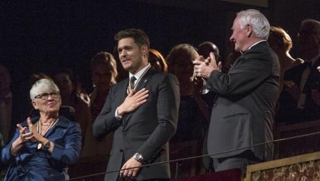 2017 recipients Brigitte Haentjens, Michael Bublé and former Governor General David Johnston